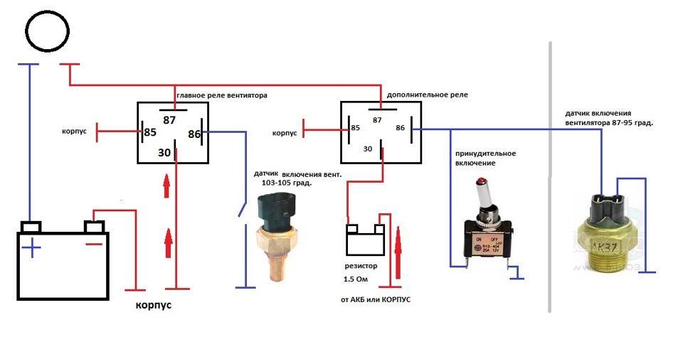 Схема принудительного включения вентилятора на Ваз 2114