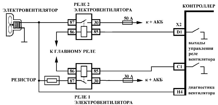 схема резистора вентилятора охлаждения